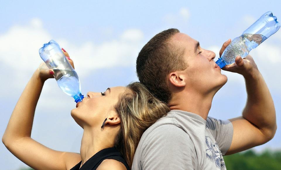 Par pije vodo iz plastenk